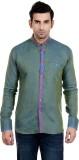 New Looks Men's Solid Casual Linen Green...