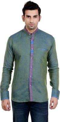 New Looks Men's Solid Casual Linen Green Shirt