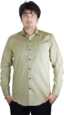 Kartier Men's Checkered Casual Yellow Shirt