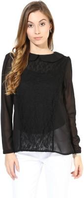 La Zoire Women's Solid Formal, Party Black Shirt
