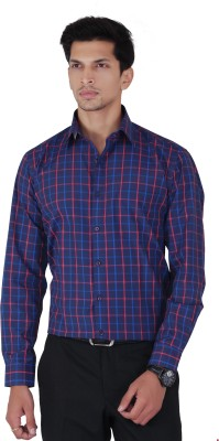 Cocablue Men's Checkered Formal Blue, Red Shirt