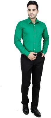 Vkg Men's Solid Formal Green Shirt