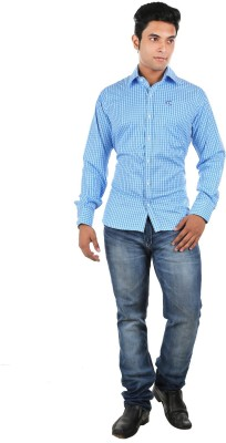 Relish Men's Checkered Formal Blue, Light Blue Shirt