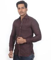 Granthh Formal Shirts (Men's) - GRANTHH Men's Checkered Formal Linen Brown Shirt