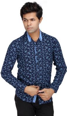 JG FORCEMAN Men's Printed Casual Dark Blue Shirt