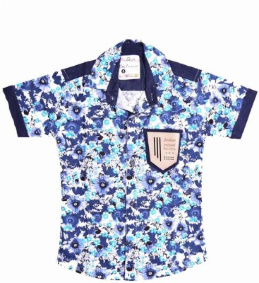 British Terminal Boy's Self Design Casual Blue Shirt