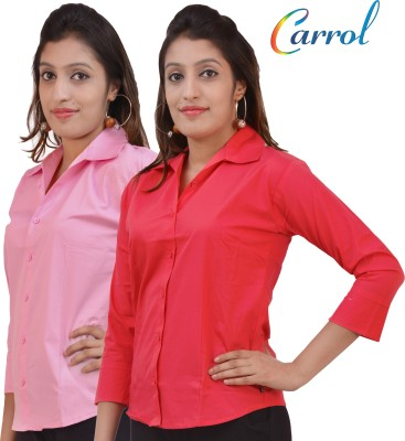 carrol Women,s, Girl's Solid Formal, Casual Pink Shirt