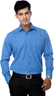 Zeal Mens Checkered Formal Blue, Dark Blue Shirt