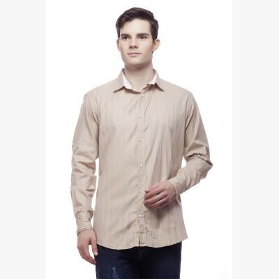 Akara Men's Striped Casual Brown Shirt