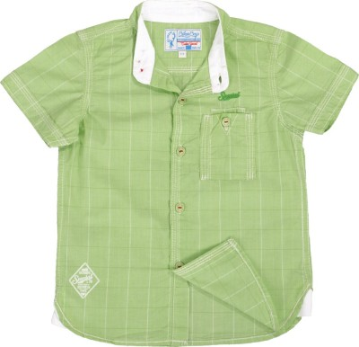 Biker Boys Boy's Checkered Casual Green Shirt