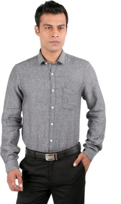 JHAMPSTEAD Men,s Solid Casual Grey Shirt