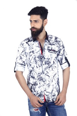 MOZAC Men,s Printed Casual White Shirt