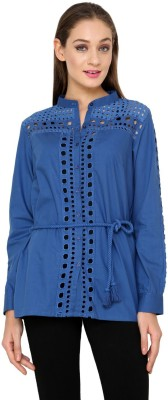 Rena Love Women's Solid Casual Blue Shirt