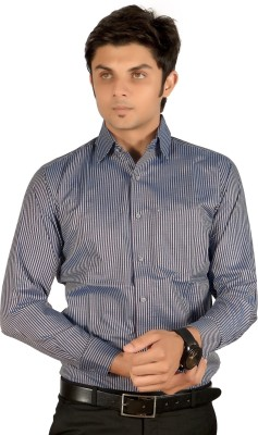 Proactive Men's Striped Formal Blue Shirt