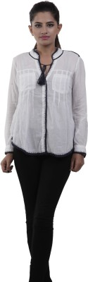 M&F Women's Solid Casual White Shirt