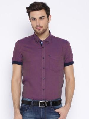 Harvard Men's Self Design Casual Purple Shirt