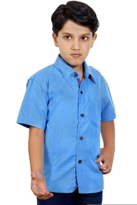 MagPie Boy's Self Design Formal Blue Shirt