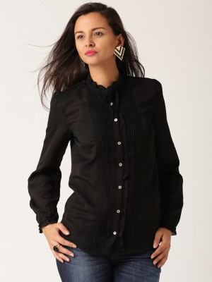 All About You Women,s Self Design Casual Black Shirt