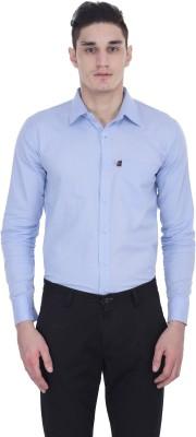 LONDON LOOKS Men's Solid Formal Blue Shirt