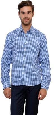 Lemon & Vodka Men's Checkered Casual Blue Shirt