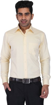 Prague Fashion Men's Solid Formal Yellow Shirt