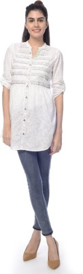 Desi Belle Women's Embroidered Casual White Shirt