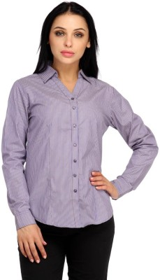 Snoby Women's Striped Formal Blue Shirt