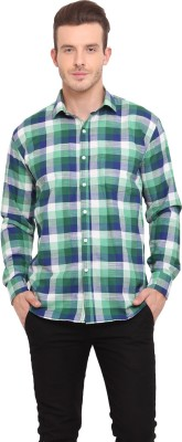 Ennoble Men's Checkered Casual Green Shirt