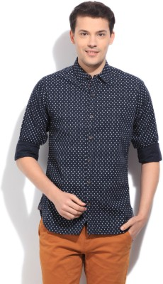 United Colors of Benetton Men's Printed Casual Blue Shirt
