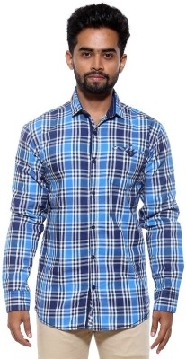 FIFTY TWO Men's Checkered Casual Blue Shirt