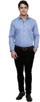 Clubstone Formal Shirts (Men's) - Clubstone Men's Solid Formal Blue Shirt