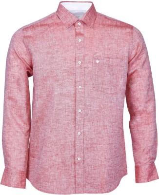 Nanya Men's Solid Casual Linen Pink Shirt