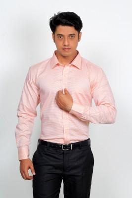 Green Bows Men's Self Design Formal Brown Shirt