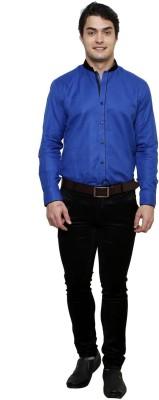 Clubstone Men's Solid Formal Blue Shirt