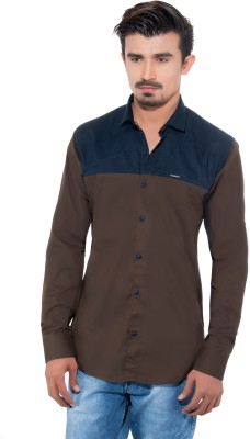 Grey Booze Men's Solid Casual Brown, Blue Shirt