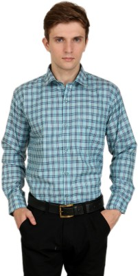 Crocks Club Men's Checkered Formal Light Blue Shirt