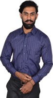 Urban Grandeur Formal Shirts (Men's) - Urban Grandeur Men's Striped Formal Dark Blue Shirt