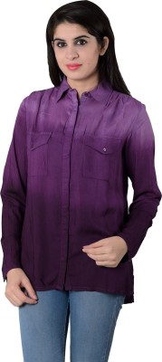 House of Tantrums Women's Solid Casual Purple Shirt