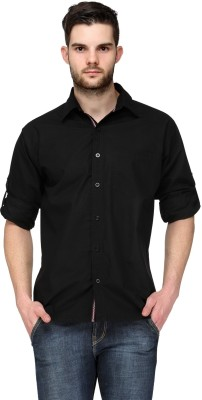 TSX Men's Solid Casual, Formal, Party, Lounge Wear Black Shirt