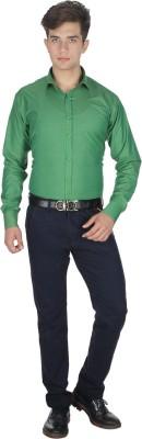 Shaurya-F Men's Solid Formal Green Shirt