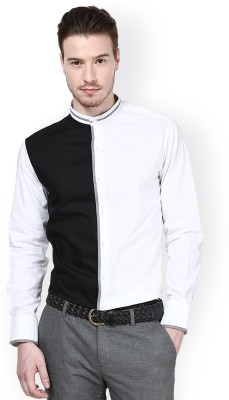 Protext Men,s Solid Casual Black, White Shirt