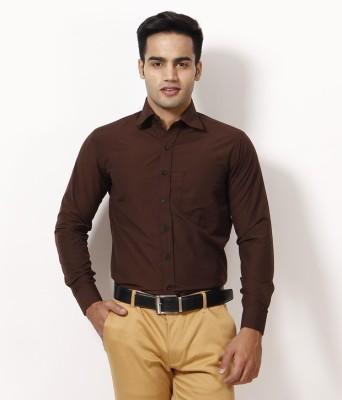 AKAAS Men's Solid Formal Brown Shirt