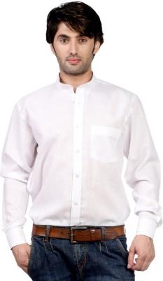 Hugo Chavez Men's Solid Formal Linen White Shirt