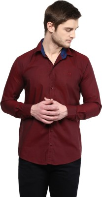 Rodamo Men,s Solid Casual Maroon Shirt