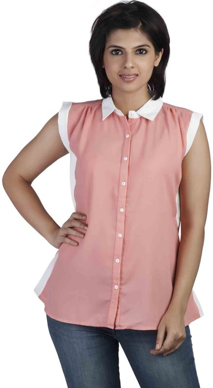 Soie Women's Solid Casual Pink Shirt