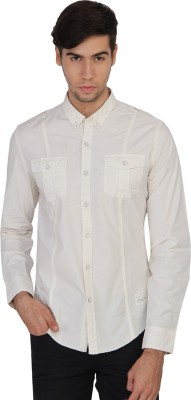 Calvin Klein Men's Solid Casual Beige Shirt