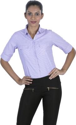 Elle Et Lui Women's Checkered Formal Purple Shirt