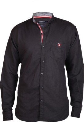 Hash Luxury Men's Solid Party Linen Black Shirt