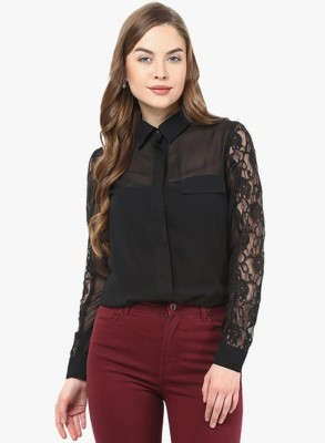 Indicot Women's Printed Casual Black Shirt
