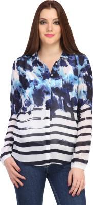 My Addiction Women's Printed Casual Blue Shirt